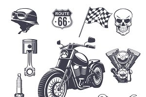 Vintage Motorcycle Elements Set