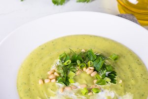 Zucchini Cream soup on white.