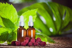Bottles with raspberry oil