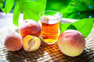Fruits tea made from  peach, organic
