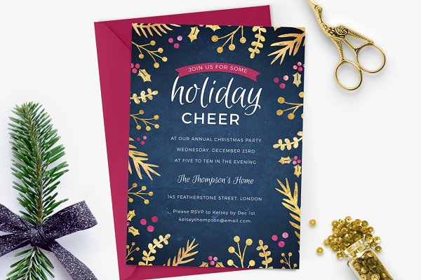 Holiday Party Invite - Foil Foliage