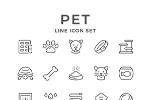 Set line icons of pet