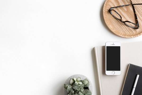 Workspace Flat Lay Phone Mockup