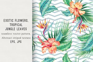 Tropical flowers abstract pattern