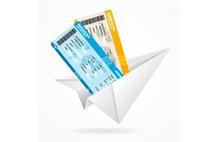 Vector tickets and paper airplane