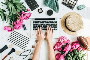 Blogger home office desk workspace