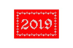 2019 knitted greeting card