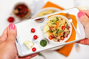 Smartphone photo of bulgur salad
