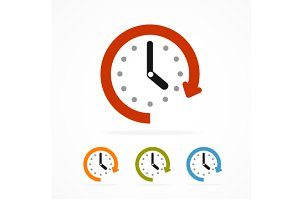 Vector color clock icon.