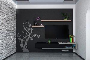 Modern living room , 3D render