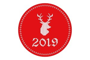 2019 knitted logo reindeer