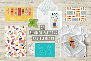 Summer beach girls patterns set