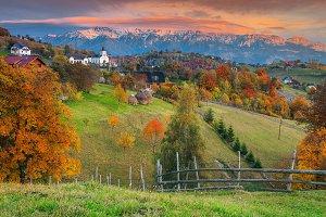 Autumn alpine rural landscape, Bran