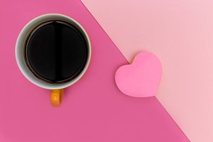 Love coffee pink heart shape
