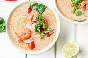 Thai soup tom yum with shrimps