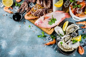 Various fresh seafood