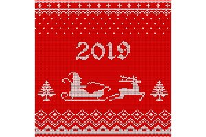 2019 knitted pattern with santa