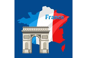 Triumphal Arch on map of France.