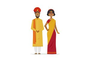Indian couple - vector illustration