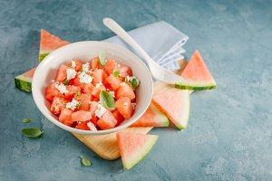 Watermelon salad with cheese
