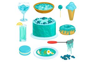 Turquoise vector blue cacke or sweet