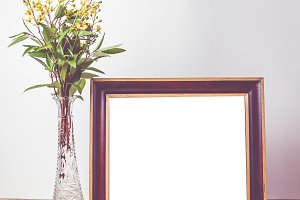 Vintage decorated frame mockup