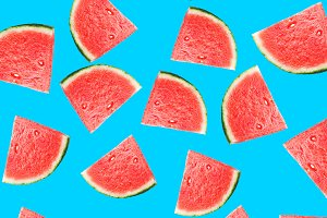Pattern with slices of watermelon