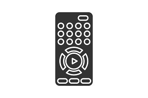 TV remote control glyph icon