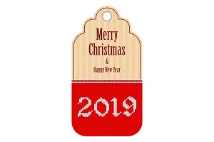 2019 knitted red craft tag