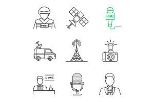 Mass media linear icons set