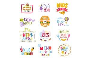 Kids menu vector lettering template