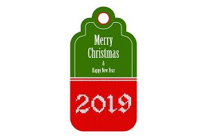 2019 knitted red green tag