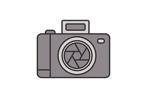 Professional photo camera color icon