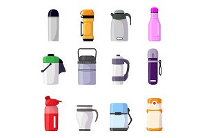 Thermos vector vacuum flask or