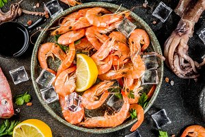 Various fresh seafood