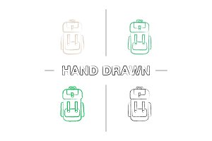 Camping backpack icons set