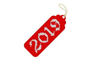 2019 knitted red tag