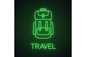 Camping backpack neon light icon