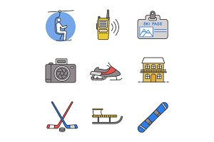 Winter activities color icons set