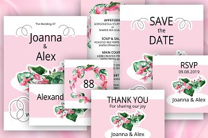 Wedding invitation set #1 | Cyclamen