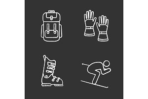 Winter activities chalk icons set