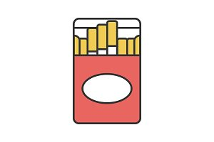 Open cigarette pack color icon