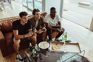 Friends playing video game