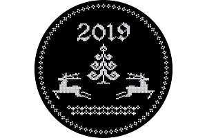 2019 reindeer tag black