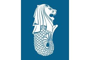 Merlion statue on blue