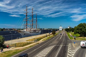 Three-masted ship in the port of