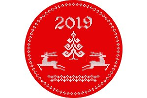 2019 reindeer tag red