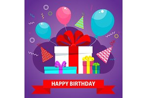 birthday card with gift box violet