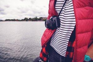 A camera on a strap