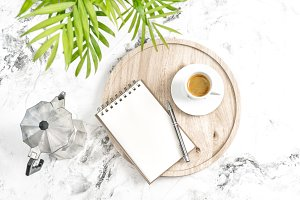 Home office workplace notebook coffe